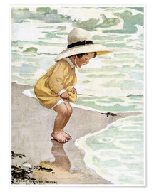 Poster  A little girl playing in the waves - Jessie Willcox Smith