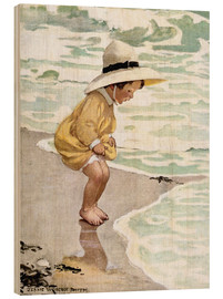 Wood print  A little girl playing in the waves - Jessie Willcox Smith