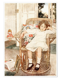 Premium poster  Girl sitting upset in a chair  - Jessie Willcox Smith
