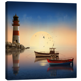 Canvas  The morning peace at the lighthouse - Monika Jüngling