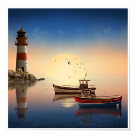 Premium poster  The morning peace at the lighthouse - Monika Jüngling