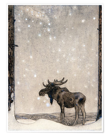 Poster  Elk in the Snow - John Bauer
