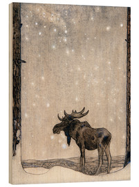 Wood print  Elk in the Snow - John Bauer