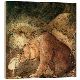 Wood print  Poor little bear - John Bauer