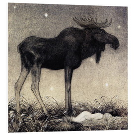 Foam board print  Moose Skutt and Princess Tuvstarr - John Bauer