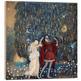 Wood print  Lena dances with the knight - John Bauer