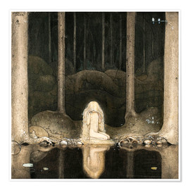Poster  Princess Tuvstarr gazing down into the dark waters of the forest tarn - John Bauer
