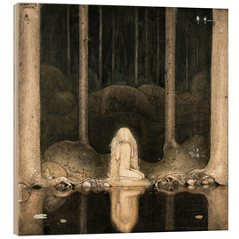 Wood print  Princess Tuvstarr gazing down into the dark waters of the forest tarn - John Bauer