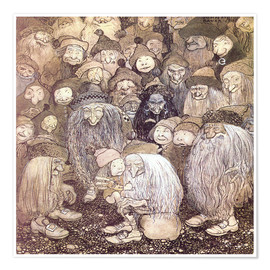 Poster  The trolls and the gnome boy - John Bauer