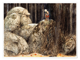 Poster  The Child and the Stone Troll - John Bauer