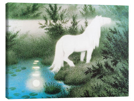 Canvas  The Nix as a white horse - Theodor Kittelsen