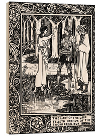 Wood print  The Lady of the Lake and Arthur - Aubrey Vincent Beardsley