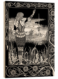 Wood print  How Sir Bedivere Cast the Sword Excalibur into the Water - Aubrey Vincent Beardsley