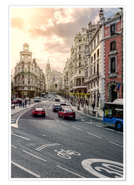 Premium poster  Gran Via in Madrid - Stefan Becker
