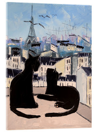Acrylic glass  Cats and doves over Paris - JIEL