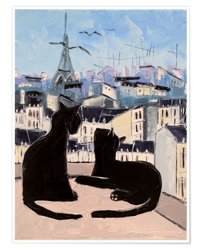 Premium poster Cats and doves over Paris