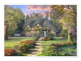 Poster  Country house with rose garden - Dominic Davison