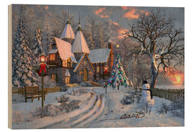 Wood print  Christmas house - Dominic Davison