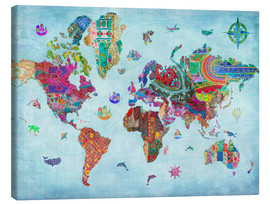 Canvas  24838 World Map Quilt (Variant 1) - Aimee Stewart