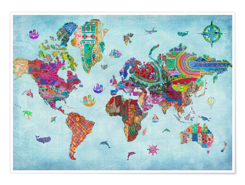 World Map Quilt Pattern.Aimee Stewart 24838 World Map Quilt Variant 1 Poster Posterlounge