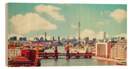 Wood print  berlin skyline retro - bildpics