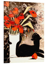 Foam board print  Black cat with poppies - JIEL