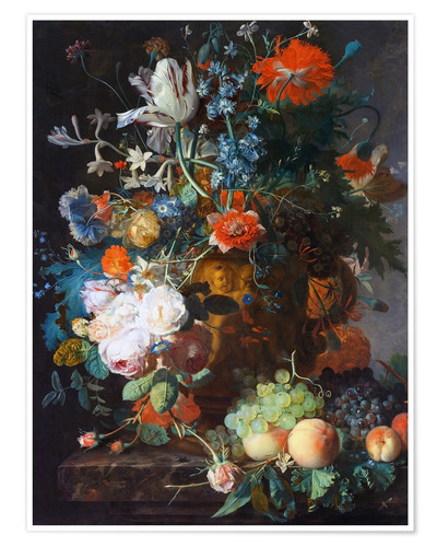 Premium poster Still Life with Flowers and Fruit