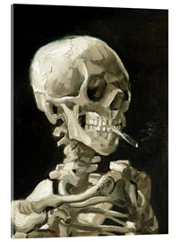 Acrylic glass  Skeleton with a burning cigarette - Vincent van Gogh
