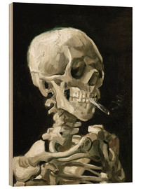 Wood print  Skeleton with a burning cigarette - Vincent van Gogh