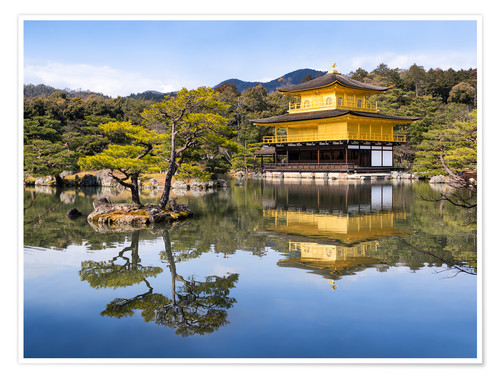 Premium poster Golden Kinkakuji Temple and garden in the summer in Kyoto Japan