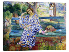 Canvas  Young woman seated on a bench - Henri Lebasque