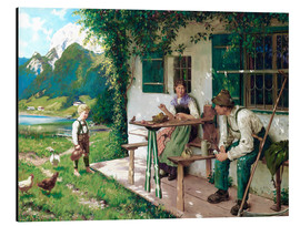 Aluminium print  One summer day in front of the house 2 - Karl Emil Rau