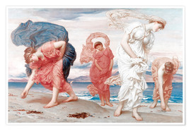 Premium poster  Greek girls picking up pebbles - Frederic Leighton