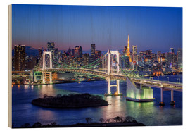 Wood  Tokyo Rainbow Bridge with Tokyo tower at night - Jan Christopher Becke