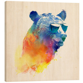 Wood print  Colorful bear - Robert Farkas