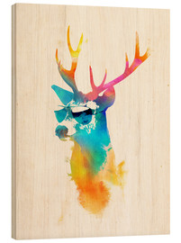 Wood print  Colorful deer - Robert Farkas