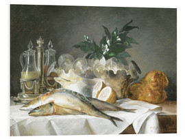 Foam board print  A STILL LIFE OF MACKEREL - Anne Vallayer-Coster
