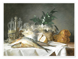 Premium poster  A STILL LIFE OF MACKEREL - Anne Vallayer-Coster