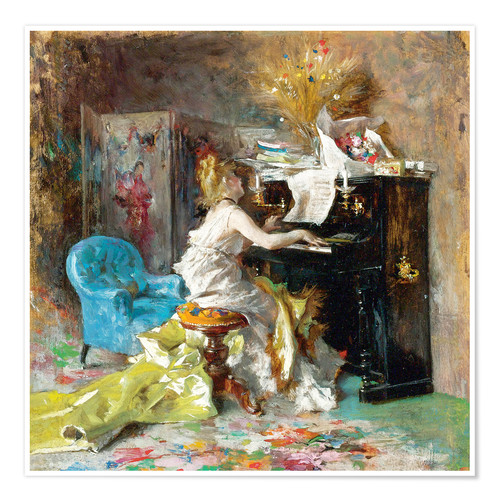 Premium poster Woman at a piano