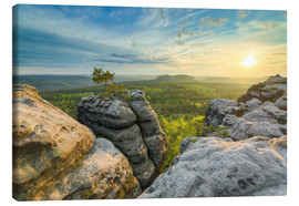 Canvas  Sunset on Gohrisch in Saxon Switzerland - Michael Valjak