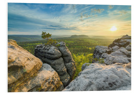 Foam board print  Sunset on Gohrisch in Saxon Switzerland - Michael Valjak