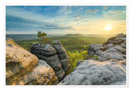 Premium poster  Sunset on Gohrisch in Saxon Switzerland - Michael Valjak