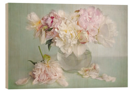 Wood print  still life with peonies - Lizzy Pe