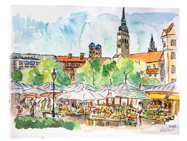 Acrylic glass  Munich Food Market Square Day in Summer Aquarell - M. Bleichner