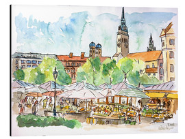 Aluminium print  Munich Food Market Square Day in Summer Aquarell - M. Bleichner