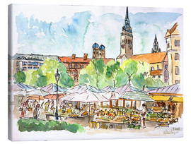 Canvas print  Munich Food Market Square Day in Summer Aquarell - M. Bleichner
