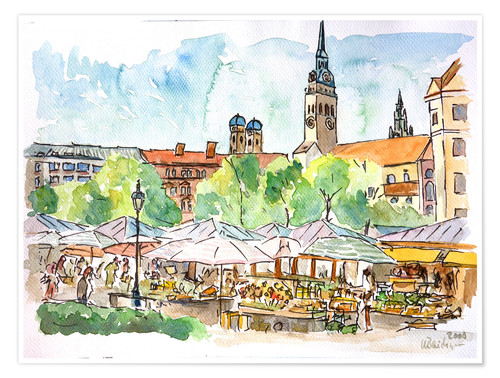 Premium poster Munich Food Market Square Day in Summer Aquarell