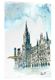 Acrylic glass  Munich City Hall Aquarell - M. Bleichner