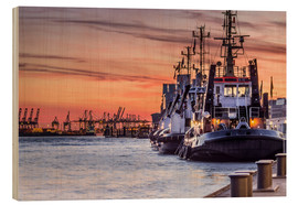 Wood print  Port of Hamburg - Dennis Stracke