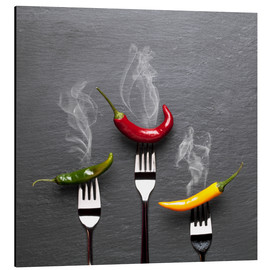 Aluminium print  steaming colorful chili peppers - pixelliebe